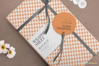 Beautiful Wrapping Paper PSD Mockup