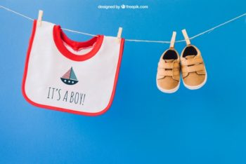 Free Hanging Baby Apparel Mockup in PSD