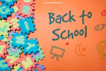 Free School Floor Jigsaw Mockup in PSD