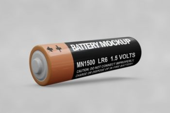 Free Customizable Battery Mockup in PSD