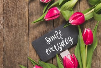 Free Flowers Plus Inspirational Message Mockup