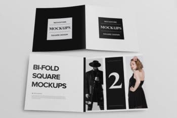 Free Download Bifold Square Brochure Mockup in PSD