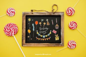 Free Birthday Greeting Plus Lollipops Mockup