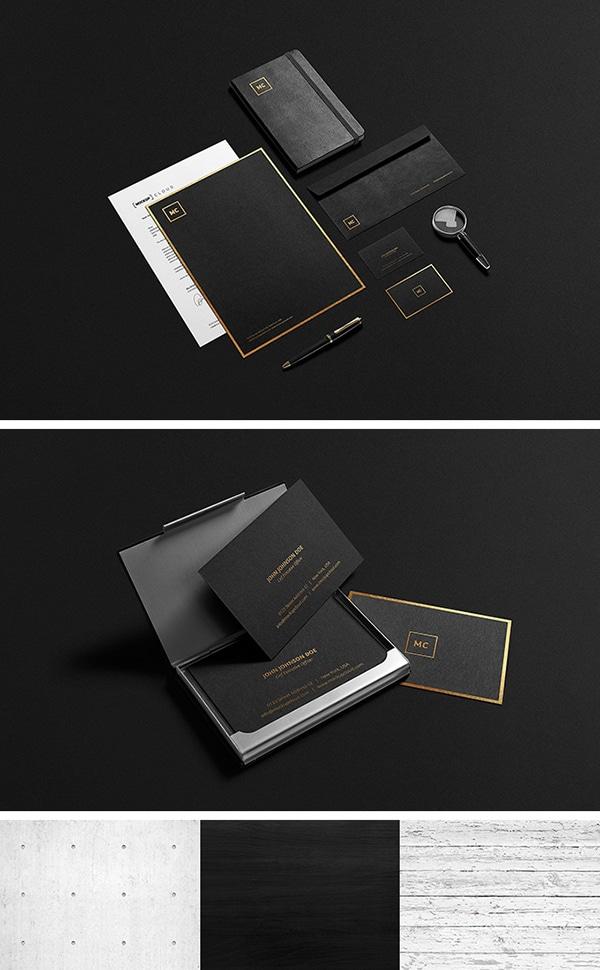 Black Plus Gold Stationery
