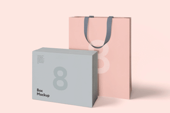 Box and Bag PSD Mockup with Useful Features & Beautiful Look