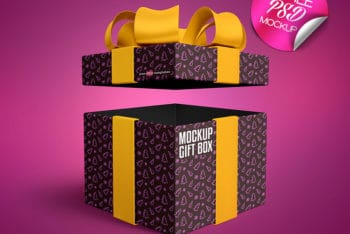 Wonderful Gift Box PSD Mockup