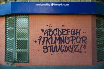 Brick Wall Plus Graffiti Mockup Freebie