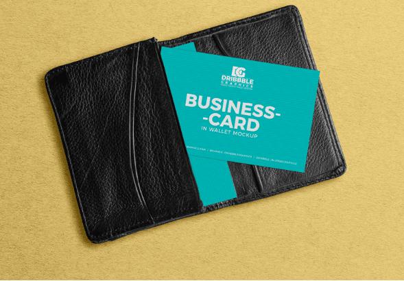 Business Card In Wallet PSD Mockup Design