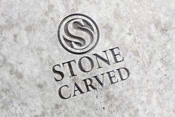Carved Stone Logo Mockup