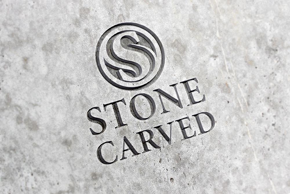 carved logo mockup