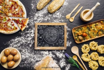 Free Italian Dish Cooking Mockup in PSD