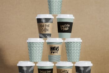 Free Coffee Cup Pyramid Stack Mockup