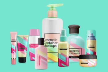 Cosmetic Container Mockups in PSD