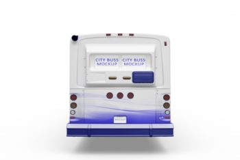 Free Rear View Bus Mockup in PSD