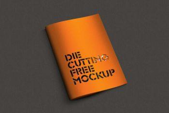 Die Cut Brochure Mockup in PSD