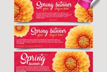 Free Spring Banner Mockups in PSD