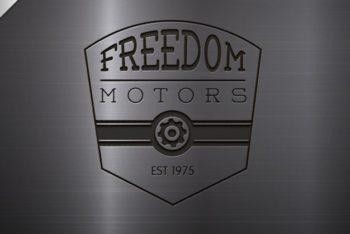 Free Engraved Motor Logo Mockup