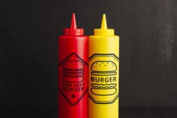 Free Ketchup Plus Mustard Mockup in PSD