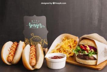 Free Hotdog Plus Burger Fastfood Mockup