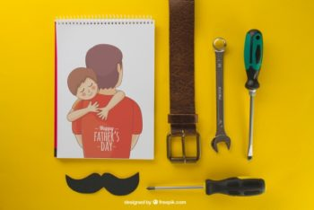 Free Father's Day Concept Mockup in PSD