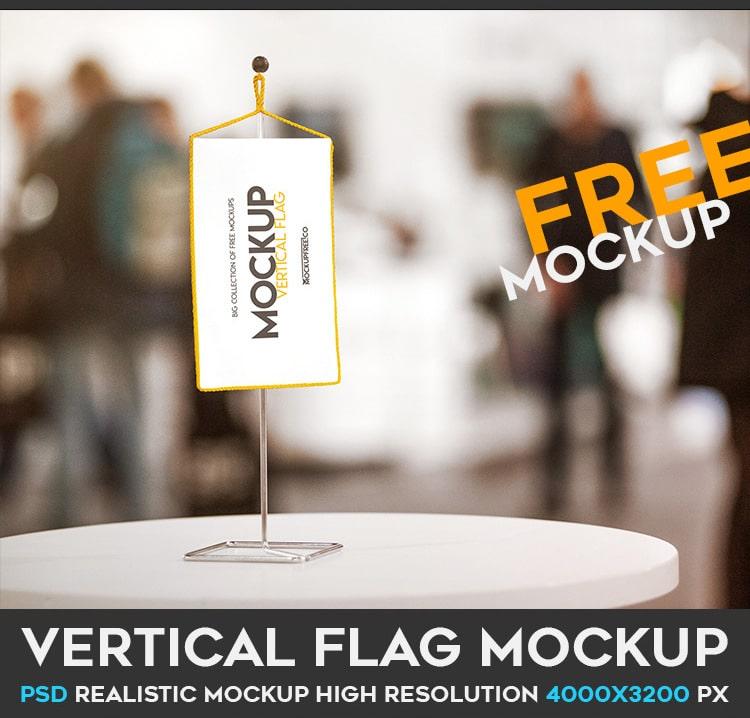Vertical Flag PSD Mockup Free Download