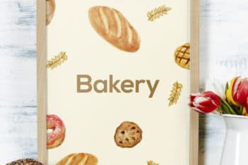 Free Bakery Frame Plus Bread Mockup