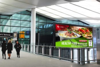 Free Airport Billboard Mockup in PSD