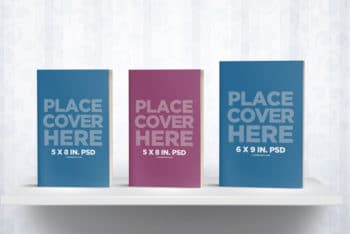 A Free Set of Book Cover Mockup On A Bookshelf