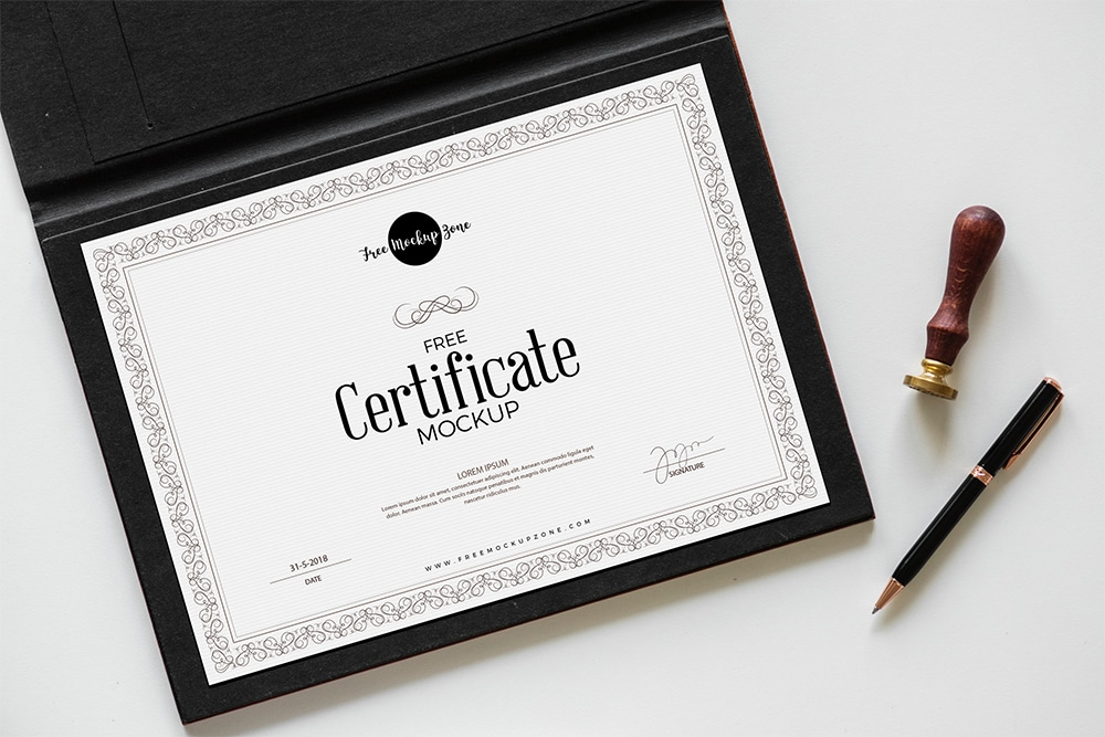 free certificate psd mockup