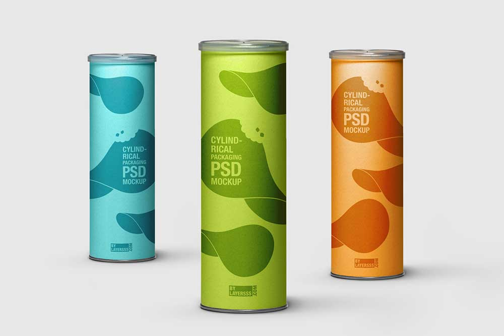 Download this free cylinder tube mockup in psd designhooks for Cylinder packaging template