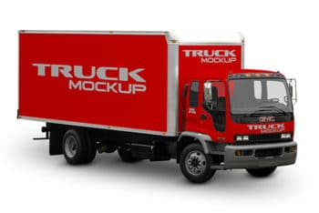 Delivery Truck Mockup in PSD
