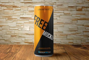 Free Energy Drink Can Mockups in PSD