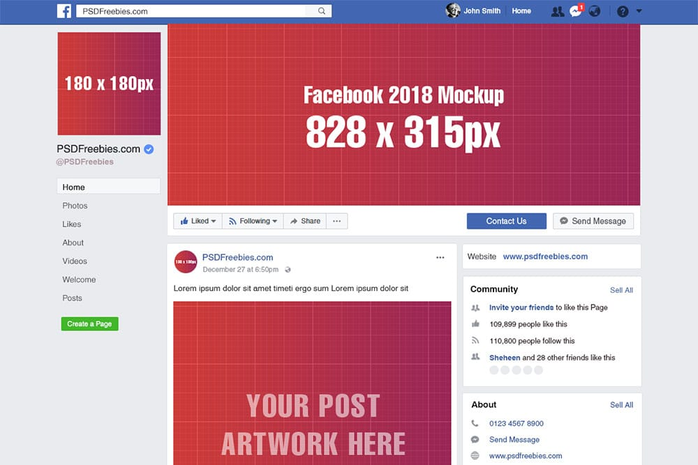 Download this free facebook page mockup in psd designhooks for Facebook page design template free