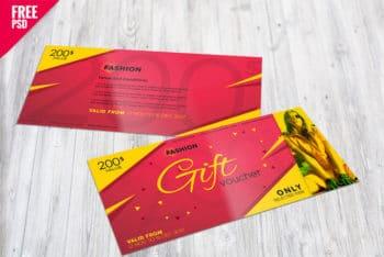 Free Gift Certificate Mockup in PSD