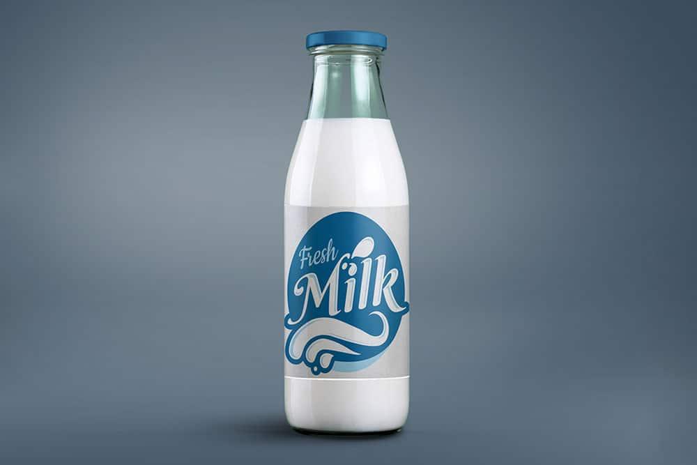 free milk bottle packaging mockup
