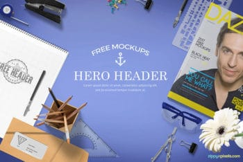 Free Hero Header Mockup in PSD