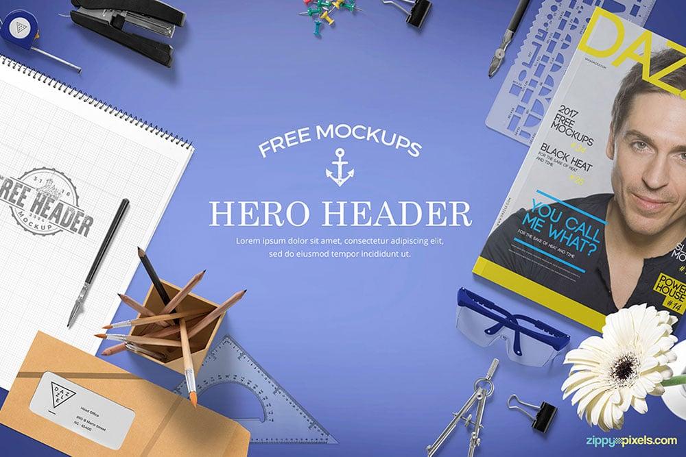 free hero header mockup