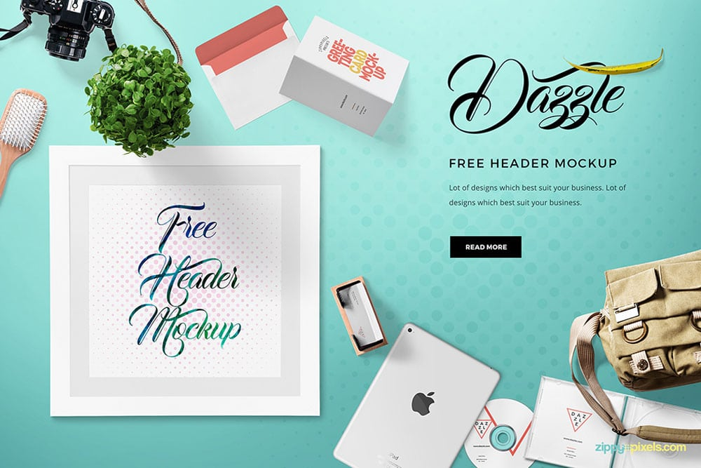 free website hero header mockup
