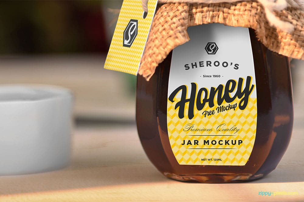 free honey jar mockup