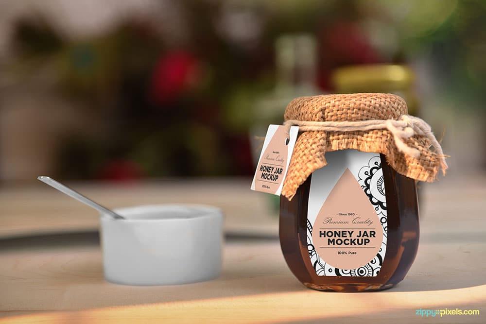 Download This Free Honey Jar Mockup in PSD - Designhooks