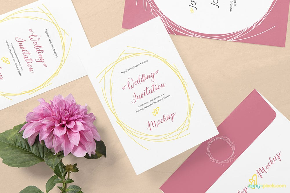 Free Outstanding Wedding Invitation Card Mockup