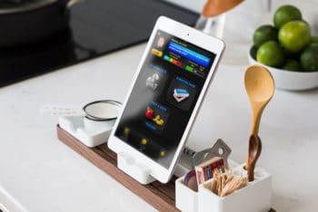 Free iPad Mockup in Kitchen Environment