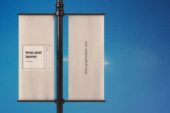 Free Lamp Post Banner Mockup in PSD