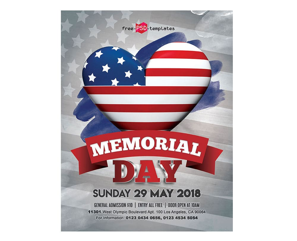 free memorial day flyer mockup