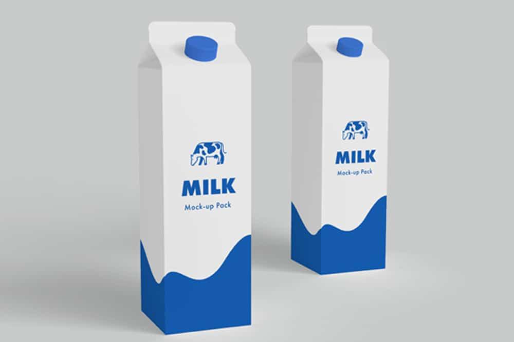 free milk carton psd mockup