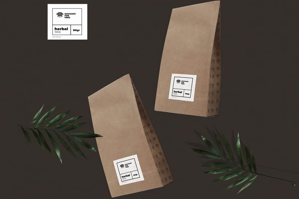 free organic tea pack mockup