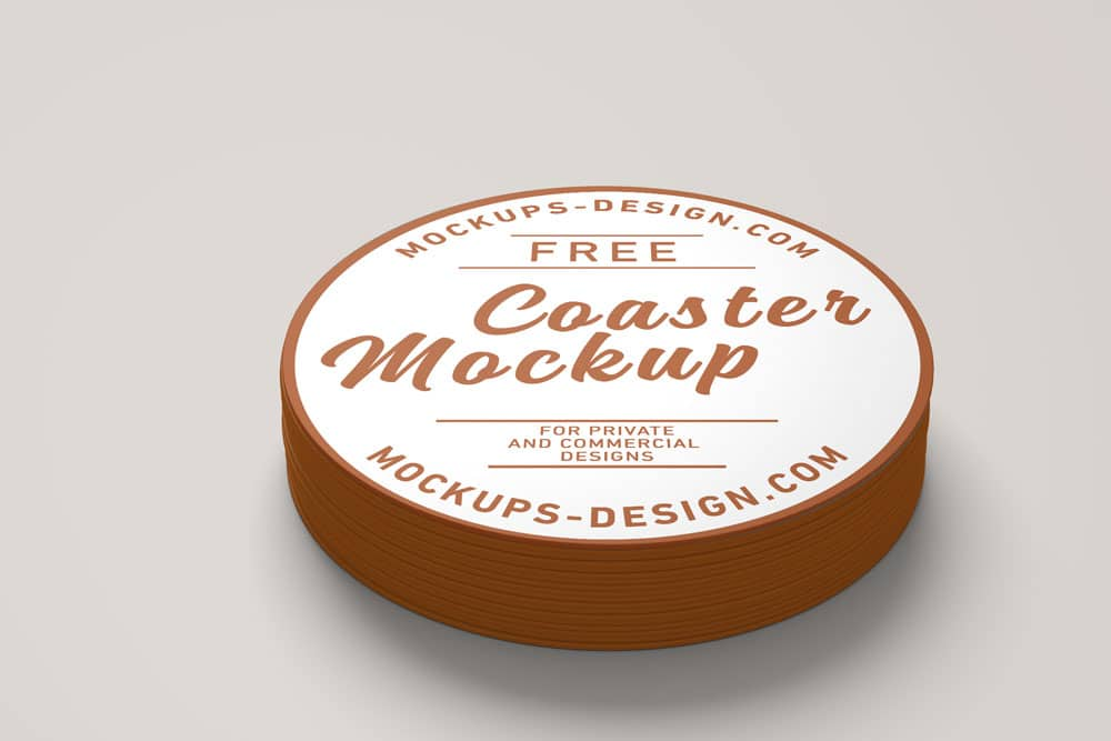 free round coaster psd mockup