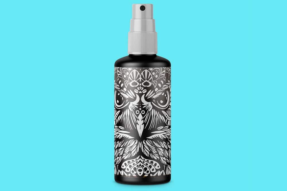 free spray bottle psd mockup