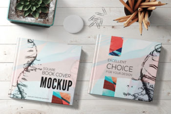 Free Square Book Mockup in PSD
