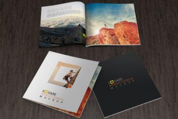 Free Square Brochure Mockup in PSD